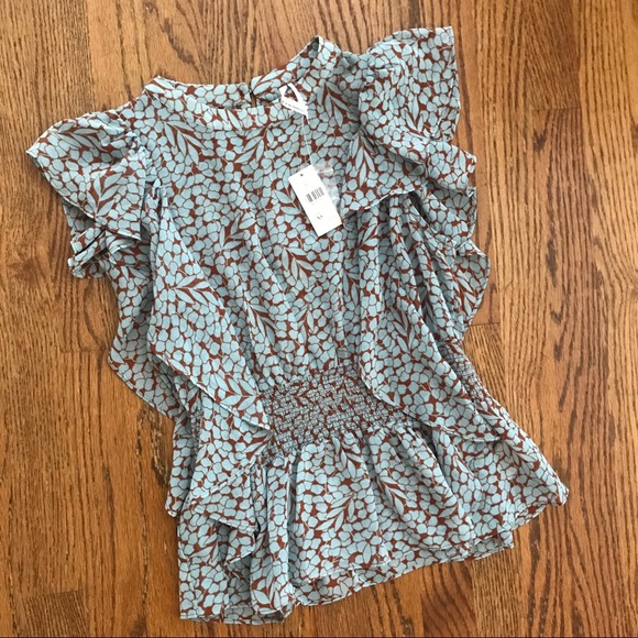 Anthropologie Tops - NWT Anthropologie sheer feather bone peplum blouse